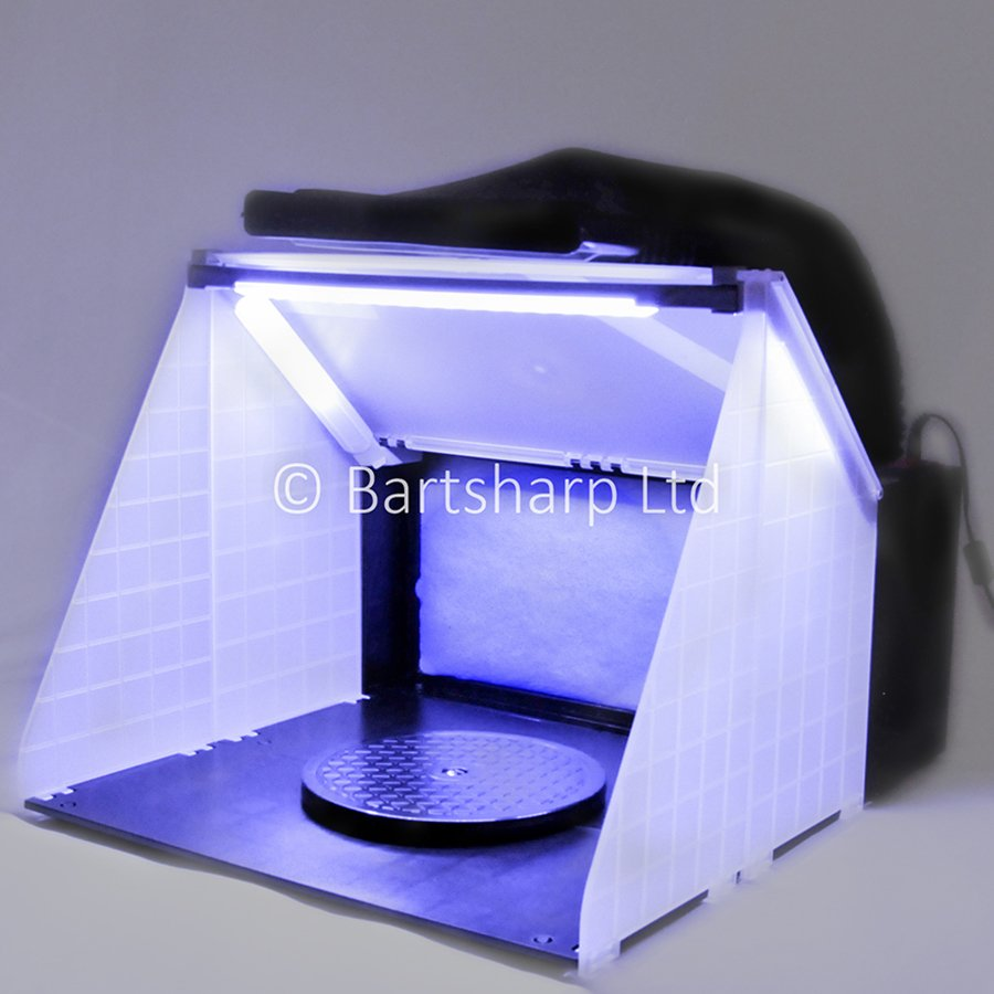 BARTSHARP Airbrush Spray Booth With LED Lights and Exhaust Kit