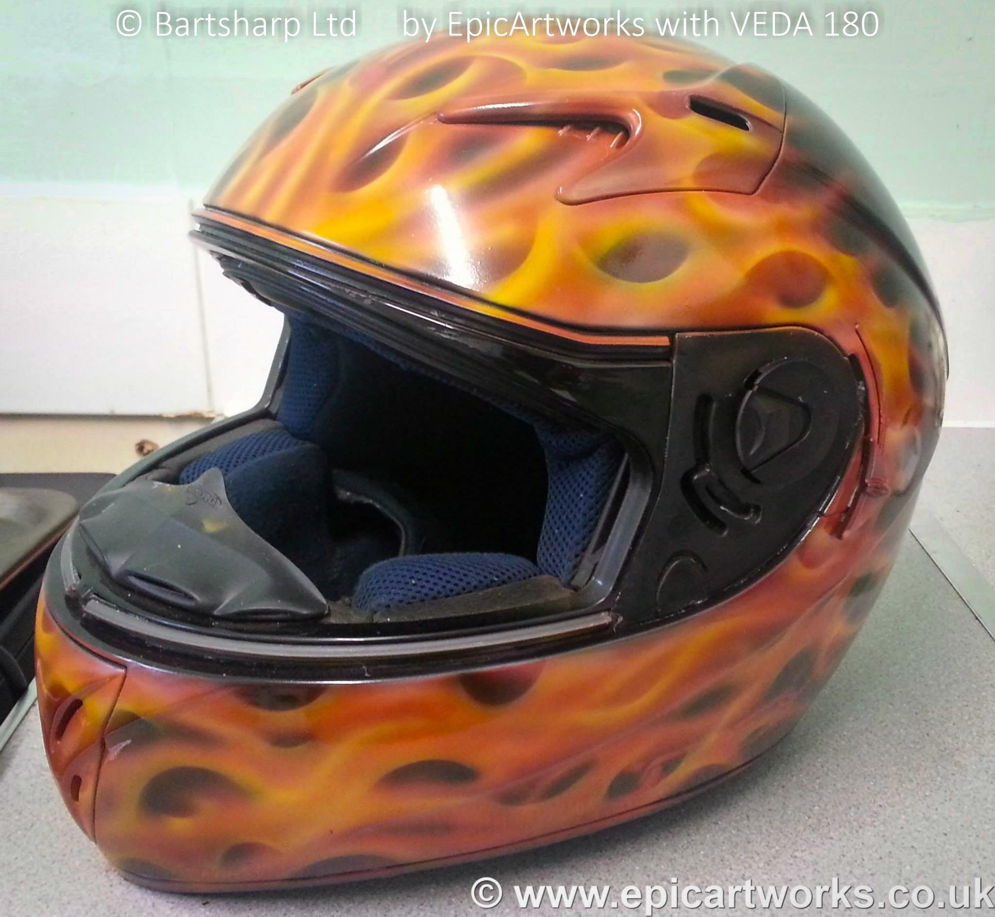 EpicArtworks Custom Painting Helmet5 Using Bartsharp 180 Airbrush