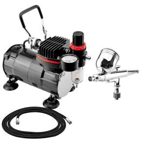 BARTSHARP Airbrush 130 Dual Action Gravity Feed With TC802 Airbrush Compressor